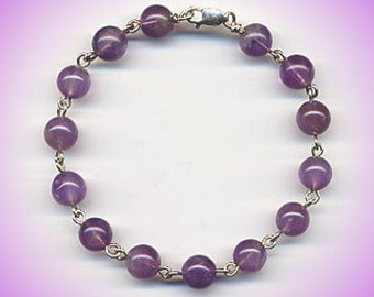 Amethyst Bracelet, Beaded Classic in Sterling Silver