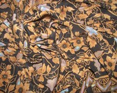 Vintage British Museum of Art Silk Scarf - Black with Elaborate Gold Floral Pattern - Purple, Blue Flowers, Gold Dots