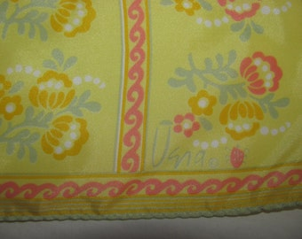 Vintage Vera Neumann Lucky Ladybug Square Scarf - Bright Yellow with Flower Stripes - Abstract Floral Print