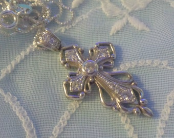 """Vintage Sterling Silver .925 CZ Cross Pendant Crucifix Religion Jesus Christ Necklace 16"""" Chain FREE Shipping"""