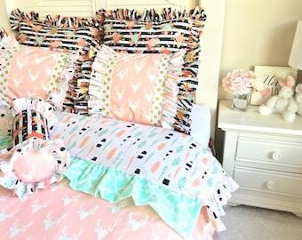 Stag Twin Bedding, Pink Deer Head Bedding, Big Girl Woodlands Bedding, Twin Bedding for Girl, Twin Stag Bedding, Big Girl Bedding, Girl Bed