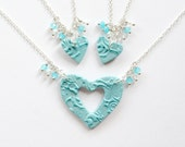 Mother and 2 Daughters Matching Necklace Set in Aqua with Jewel Charms