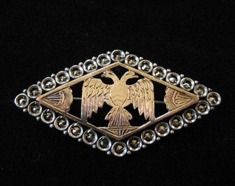 9K Gold and Sterling Silver Double Headed Eagle Pin, 1920s