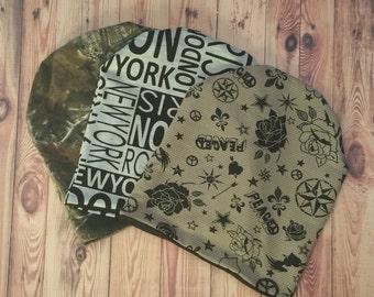 Peace -Camo-Flower Slouchy Beanie Hat Reversible Adult Tuke