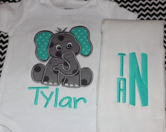 Elephant bodysuit and burpcloth set- cute baby gift
