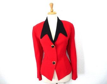 Vintage 80s Red Black Wool Jacket Bicci Florine Wachter Blazer Size Medium