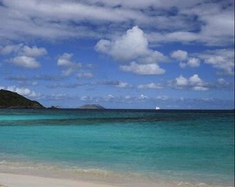 "Beach Photography, Hawksnest Bay St John USVI Photograph, ""Jeweled Sea"" Caribbean Fine Art. Beach, Blue, Green, Paradise"