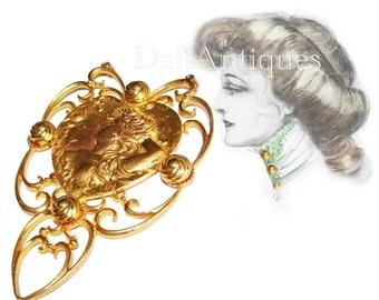 Free Shipping Goth HUGE Art Nouveau Figural Lady Medallion Catwalk Necklace Show Stopper Excellent Condition