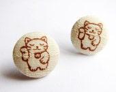Button Earrings / Clip On Earrings - maneki neko earrings