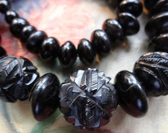 antique Victorian WHITBY JET carved rose flower black bead mourning necklace -refE9