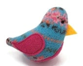 Birds of a Sweater Catnip Cat Toy - Blue Pattern with Pink