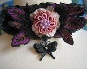Black Lace Purple Satin Ribbon Pink Lavender Floral Black Butterfly Necklace Choker Jewelry