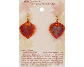 Real Aspen Leaf Dipped In Iridescent Copper Post Dangle Earrings - Real Dipped Leaves - On Card