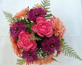 Coral Peach,Roses Dahlias,Zinnias Silk Flower Arrangement, Centerpiece Wedding Mother's Day