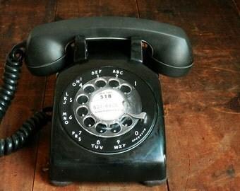 Black Rotary Phone, Western Electric 500, Mid Century Decor, Mad Men, Retro Desk Phone