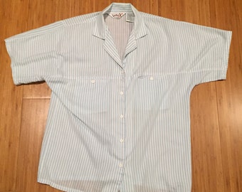 ON SALE* Licorice X Vintage Teal Striped Button Up Shirt Women's Size Medium