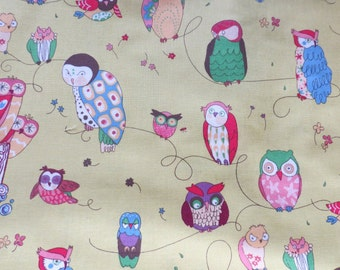 4 yards of Alexander Henry Spotted Owl Fabric, Green Tea