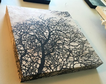 Woodblock Print Tree No. 12 Mounted And Ready To Hang - Hand Pulled Fine Art Block Print On Handmade Paper