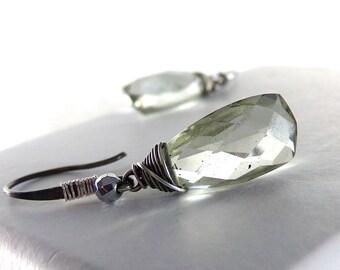 Green Earrings, Green Amethyst Earrings, Sterling Silver, AAA Green Amethyst Gemstone, Pale Green Earrings, Clear Green Earrings - Rain