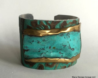 "leather cuff bracelet  - turquoise embossed leather with metal embellishment - 2"" wide"