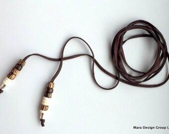 New! - Long deerskin lace modern triple wrap,choker style necklace