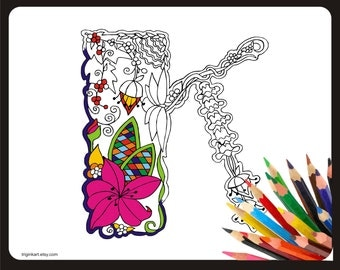 """Letter """"K"""" Lilly style alphabet  Adult coloring page"""
