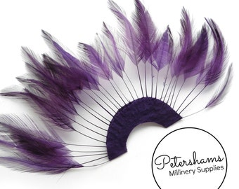 Stripped Hackle Feather Fan for Fascinators & Hat Making - Plum