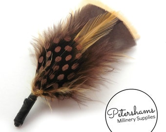 Men's Hat Feathers Millinery Mount (Turkey, Hackle and Spotted Guinea Feathers) - Tan & Brown