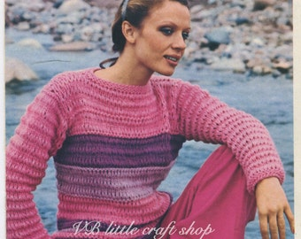 Lady's quick knit sweaters knitting pattern. Instant PDF download!