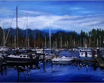 Vancouver Landscape - 36x24in Original Blue Oil Boat Painting