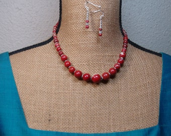 Natural Graduated Red River Gemstones, 925 Silver Necklace and Earrings