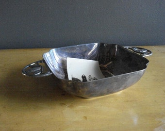 Sweet Silver Bowl - Tiny Silverplate Bowl with Ornate Handles - Small Fisher Dish
