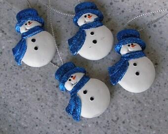Ceramic Snowman Ornaments set of 4 handmade vintage