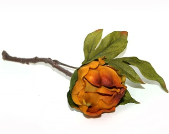 Mustard Yellow and Orange Peony Ball Pick - Boutique Quality - Artificial Silk Flower