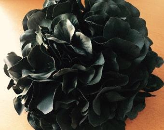 1 Jumbo Jet Black Hydrangea - Full Head - Artificial Flowers, Silk Flowers