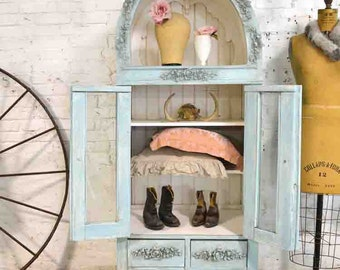 Painted Cottage Chic Shabby Aqua Handmade Farmhouse Cabinet CC684