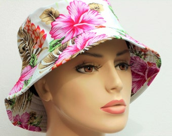 Bucket Hats Hawaiian Paradise Pink Floral on White Floral Sun Hat Chemo Hat