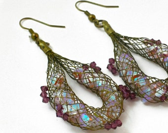 Bronze and Lavender Mesh Drop Earrings