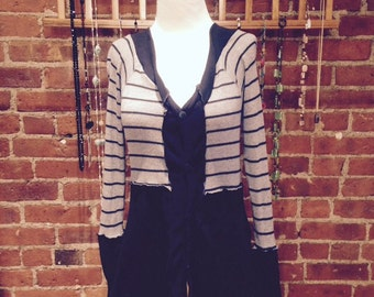 Upcycled two tone black and gray striped cardigan-button down-recycled corton -eco friendly-soft pullover - v neck- size small- eco clothing
