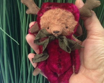 4 inch Artist Handmade Miniature PocketSized Deer TeddyBear by Sasha Pokrass