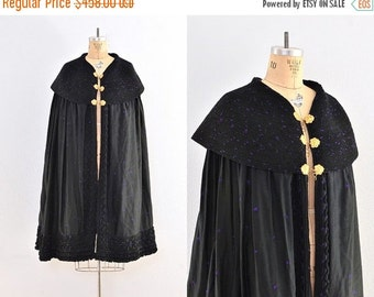 vintage cape  -  embroidered cape coat  / vintage opera cape / black cape