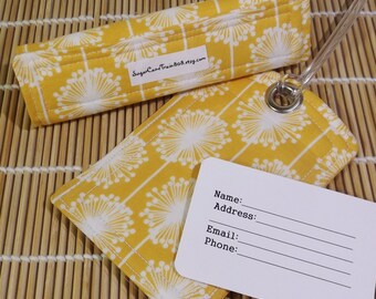 Fabric Luggage Tag & Luggage Handle Wrap Set - Travel Organizer Suitcase Tag - Luggage ID - Luggage Handle Wrap - Yellow Dandelion
