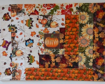 Quilted Halloween, Thanksgiving, Pumpkin Placemats, Set of 4