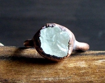 Topaz Ring Natural Rough Stone Jewelry Copper Raw Crystal Size 7.5 Ring November Birthstone Ring