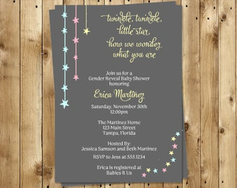 Stars Gender Reveal Party Invitations, Pink, Blue, Yellow, Set of 10 Printed Cards with Envelopes, TWSGR, Twinkle Twinkle Little Star Gender