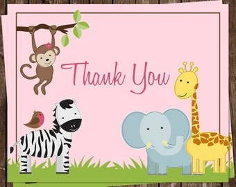 Safari, Baby Shower, Thank You Cards, Jungle, Jill, Girl, Pink,  Monkey, Giraffe, Lion, Zebra, Elephant, 24 Folding Notes, FREE Shipping