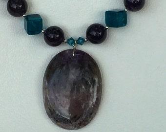 Amethyst pendant on Amethyst and aqua glass necklace