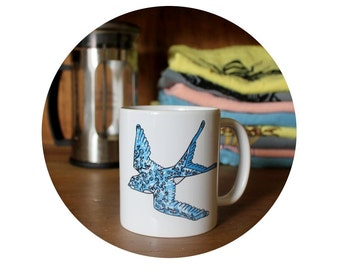 Flying Bird 11 oz Coffee Mug, Coffee Cup, Sublimated By Hand, Warm Beverage, Tea Mug,  Housewarming Gift, Tattoo Inspired, Swallow Dive