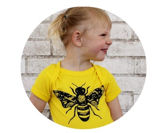 Screenprinted Honey Bee One-piece,  LEMON Yellow, Bumble Bee Baby Hand Printed, Insect  Unisex Baby Clothing  Short Sleeved, nature inspired