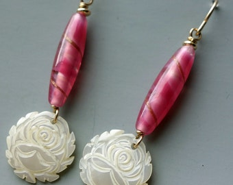 Vintage Carved Mother of Pearl Rose German Glass Bead Earrings